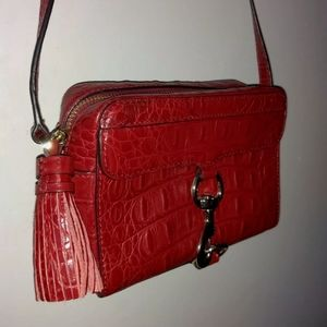 Rebecca Minkoff Crossbody Bag Red Leather Croc